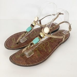Sam Edelman Glenna T-Strap Beaded Sandals Snake